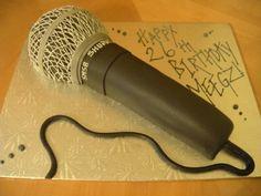 Microphone Cake « Main Made Custom Cakes 27th Birthday, Birthday Fun, Birthday Cakes, Microphone Cupcakes, Turntable Cake, Music Cakes, Cake Writing, Fondant Tips, Karaoke Party