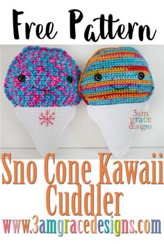 The fourth design in our Summer Series Kawaii Cuddlers is the Sno Cone! The color combinations are endless and can be changed to create your favorite iced treat. Below you will find instructions to crochet your very own Sno Cone! Enjoy! Don't forget to PIN this project to your Pinterest Boards! Have a blessed day! …