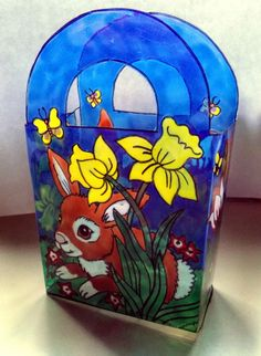 WICOART WINDOW COLOR POCHETTE BAG FAUX STAINED GLASS PAQUES EASTER LAPINS