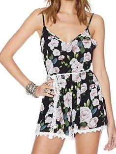 Multi Color Floral Print Romper Playsuit with Lace Hem and Tie Waist | Choies