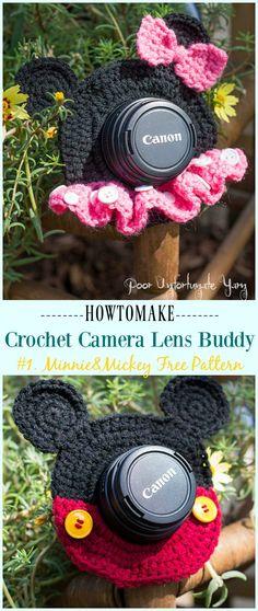 Crochet Minnie & Mickey Mouse Shutter Buddies Free Pattern - #Crochet; Camera #Lens; Buddy Cozy Free Patterns