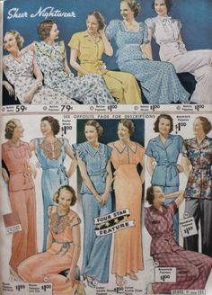 1930s ladies sleeping pajamas nightgowns