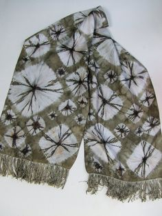 Silk scarf, shibori, hand dyed, circles, rust, onion skins, natural dyes, grey, upcycled, fossils