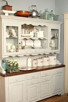 Paris Grey Chalk Paint® on Kitchen Hutch | Tammy Dammore