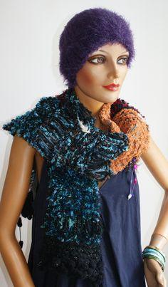 handmade knitting scarf Handmade Scarves, Shawls, High Neck Dress, Sari, Knitting, Unique, Dresses, Fashion, Ponchos