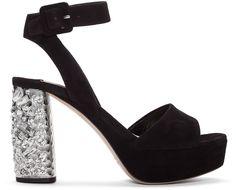 MIU MIU Black Suede & Crystal Sandals. #miumiu #shoes #sandals