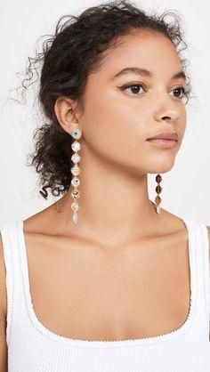 Deepa Gurnani Deepa by Deepa Gurnani Nikke Earrings Deepa Gurnani, Central Saint Martins, India Fashion, Seed Beads, Photoshoot, Jewels, Drop Earrings, Blessed, Babies