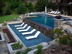 Terrace pool by Apex Landscape..  I Love the lounge chairs. #shellyfarley