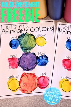 Mixing Colors FREEBIE - PreK, Kinder, Preschool Your kiddos will love this printable activity where they will explore mixing the primary colors.<br> Your kiddos will love this printable activity where they will explore mixing the primary colors. Preschool Color Activities, Pre K Activities, Preschool Learning Activities, Preschool Lessons, Preschool Classroom, In Kindergarten, Preschool Crafts, Kids Learning, Preschool Color Theme