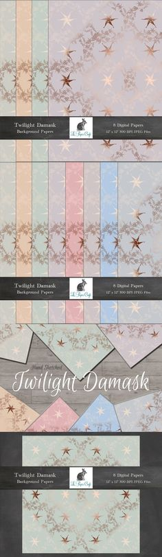 Twilight Damask Background Papers Collection This dreamy sparkling twilight damask pattern was made from my hand-sketched flowers and comes in 8 gentle & Damask Patterns, Twilight Stars, Soothing Colors, Hand Sketch, Background For Photography, Paper Background, Mixed Media Art, Design Projects, Photo Editing