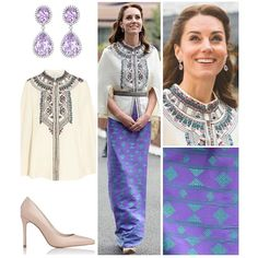 Upon meeting the King and Queen of Bhutan, Duchess Kate continued to showcase her impeccable South Asian influenced style that she has pulled off so well thus far on tour. This time, she chose a cape; something we don't often see on her, by Parisian brand Paul & Jo, another new name for the Duchess. The £367 / $520 cape was embroidered in India and includes beautiful floral motifs. As for the skirt, a lady from the Bhutanese capital of Thimphu, Kelzang Wangmo, had sent one of her fabrics…