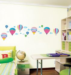 Hot Air Balloons Cloud Sky Mural wall decal Removable sticker decor Colorful // ebay shop:http://stores.ebay.com/leyintzonline