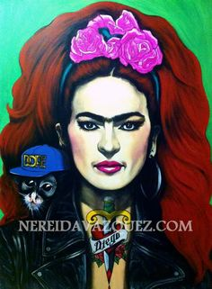 """Frida Rockstar"", Acrylic on canvas, 36 x 48"" by Nereida Vazquez."