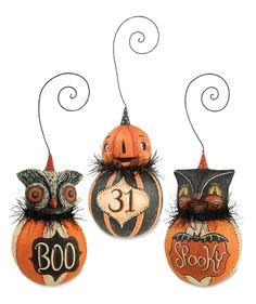 Happy Halloween Ball Ornaments | Owl Cat & Pumpkin Ornaments by Johanna Parker | As seen in Country Sampler