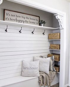 /// front entry /////Hi friends and Happy Tuesday! In honor of Fixer Upper, I thought I'd show you our latest home project. When we moved into our house the mudroom closet had old, brown accordion doors and the wood was SO dated. Front Closet, Closet Mudroom, Mudroom Shelf, Closet Bench, Closet Nook, Shelf Hooks, Laundry Closet, Bathroom Closet, Closet Space