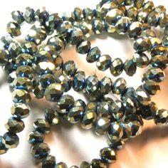 20 x perle electroplate Vert 4x3mm, en Verre, Forme ovale facette -- PVE-0019.3 : Perles en Verre par crehando
