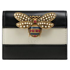 Gucci Queen Margaret leather card case (1.790 BRL) ❤ liked on Polyvore featuring bags, wallets, black, leather card holder wallet, genuine leather wallet, colorful wallets, credit card holder wallet and leather card case wallet