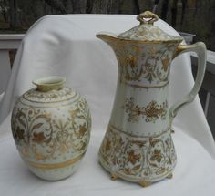 """Gold trim is has minor wear! Coffee server is tall including finial on cover and 6 wide from spout to handle. Both pieces are marked """" hand painted Nippon"""". Coffee Server, Coffee Set, Chocolate Cups, Chocolate Coffee, Painted Vases, Hand Painted, Rose Vase, Japanese Porcelain, Ceramic Teapots"""