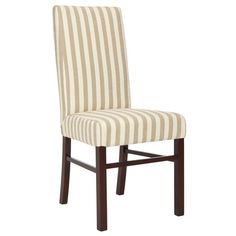 Bring a touch of refined style to your dining table or home office with this chic wood-framed side chair, showcasing striped cotton upholstery and a Parsons-...