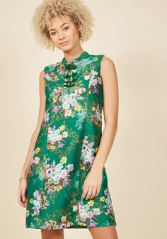 <p>In this emerald green shift dress from our ModCloth namesake label, you embody the brilliance of throwback style from its frog closures to down to its flattering princess seams! Finished with jewel-toned flowers atop grosgrain fabric, this vintage-inspired number commands as much confidence as it does compliments.</p>