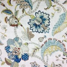 Finders Keepers French Blue Floral Print Fabric;