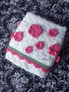 Crochet Heirloom White Pink Flower and Green by HookYarnAndHooper $84.99