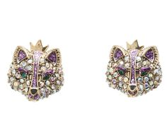 Betsey Johnson Imperial Purple Crystal Fox Stud Earrings Purple/AB Crystal - Zappos.com Free Shipping BOTH Ways