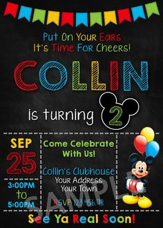 Mickey Mouse Party Invitation. Mickey Mouse Invitation. Mickey Mouse Clubhouse Invitation. Mickey Mouse Printable. Mickey Mouse Birthday Party Printable Invites.
