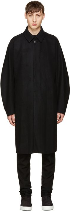 ATTACHMENT Black Wool Long Coat. #attachment #cloth #coat