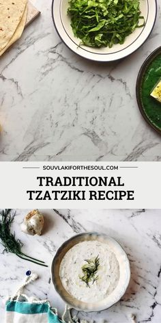 Tzatziki is a Greek appetizer made with thick Greek yogurt, crisp, cooling cucumbers and garlic. Enhanced with vinegar and dill - it's traditionally served in gyros or with souvlaki. Armenian Recipes, Armenian Food, Lunch Recipes, Vegetarian Recipes, Cooking Recipes, Greek Recipes, Indian Food Recipes, Sweet Pumpkin Recipes, Kitchens