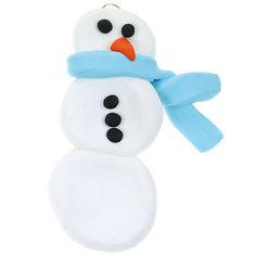 Fimosta tehty lumiukko-koriste sopii vaikka kuuseen roikkumaan!
