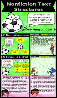 This 22-slide PowerPoint is ideal if you want to introduce the five text structures to your students. Each informational text structure begins with a graphic organizer, an example paragraph related to soccer, and a completed graphic organizer. It concludes with 5 passages related to bubble gum. Students read the bubble gum passages and identify the nonfiction text structure.