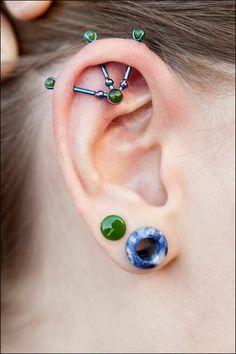 Industrial, ear piercings, ear tunnel, plug #piercings #bodyjewelry