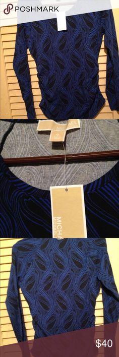 MICHAEL KORS top Black with blue swirls   Shirred side Michael Kors Tops