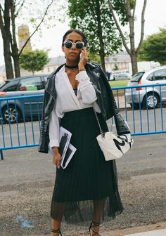 Azza Yousif spotted on the street at Paris Fashion Week. Photographed by Phil Oh.