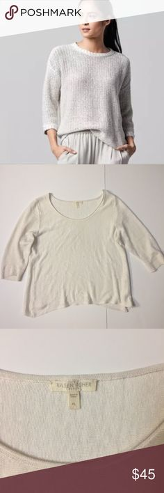 Eileen fisher cream 100% linen soft knit blouse Eileen fisher medium knit linen cream shirt large. In excellent condition. No flaws Size is large. 3/4 sleeves with cuffs. Asymmetric hem. Stock photo is just to show the fits. Style of that is slightly different. Eileen Fisher Tops