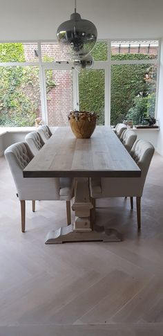 Kloostertafel in taupe washing Dining Table, House Design, Furniture, Home Decor, Dinner Table, Homemade Home Decor, Diner Table, Decoration Home, Home Furniture