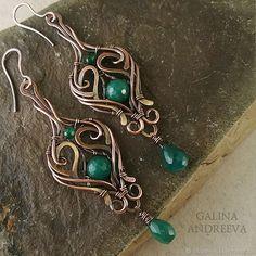 """Купить Комплект браслет и серьги """"Изумрудная долина"""" - wire wrap, серьги, браслет, зеленый, медь"""