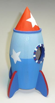 Set of two space ship rocket ship birdhouse room decor or outdoor home ships today cute spaces - Rocket ship piggy bank ...