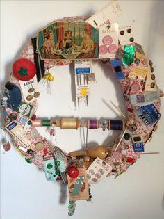 Display vintage sewing notions on wreath.