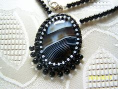 Vintage Look Agate Cabochon with Seed Bead by lindasoriginaljewels, $35.00    http://www.etsy.com/listing/99696624/vintage-look-agate-cabochon-with-seed