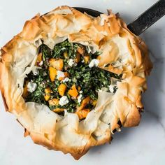 Skillet Phyllo Pie with Butternut Squash, Kale, and Goat Cheese - bon appetit