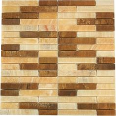 Random bricks honey onyx marble & antique rustic copper mosaic tile