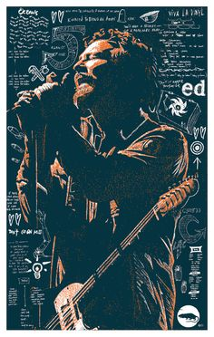 "This is a hand drawn, 2-color, screen printed poster entitled ""The Voice"" featuring Eddie Vedder from Pearl Jam.    12X18 inches.  Signed and numbered by the artist.  This poster is printed in a small, limited edition of 50."