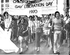 Paraders on Gay Liberation Day 1970-the first anniversary of the Stonewall Riots.