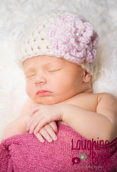 Baby Girl Hat - Baby Girl Hats - Baby Girl Hat - Baby Girl Hats - Crochet Baby Girl Hat - Baby Girl Shower Gift - Cream and Pale Pink Flower. $17.95, via Etsy.