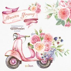 Watercolor Retro Moped with Floral Bouquet of Roses. Wedding invitation, digital pink flowers, separate elements, greeting card, DIY