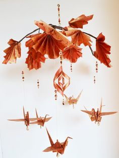 Paper Maple Leaf and Origami Crane Mobile  by amgdesignstudio, $65.00