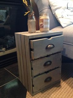 Tuck your treasures away at night in this timeless side table complete with three drawers. Perfect for a rustic living space or as a side table