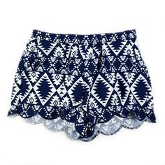 Pattern Printed Shorts-Navy Blue